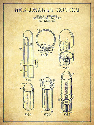 Hiv Digital Art - Reclosable Condom Patent From 1986 - Vintage by Aged Pixel