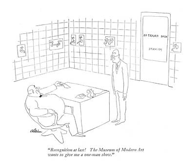 Company Drawing - Recognition At Last! The Museum Of Modern Art by  Alain