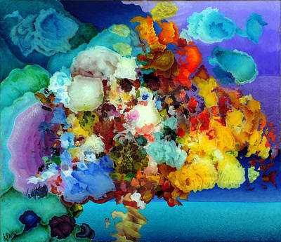 Tree Life Abstract Modern Circles Contemporary Nature Painting - Recollecting The Red Sea by Igor Paley