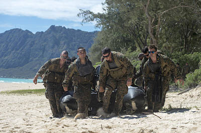 Inflatable Photograph - Reconnaissance Marines Carry A Combat by Stocktrek Images