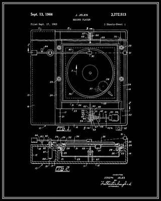 Vinyl Record Digital Art - Record Player Patent - Black by Finlay McNevin