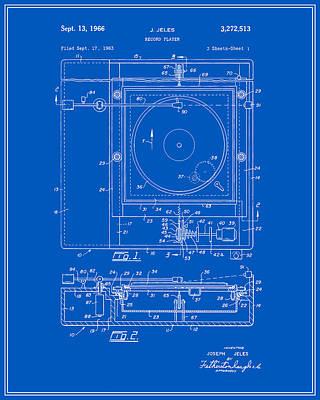 Vinyl Record Digital Art - Record Player Patent - Blueprint by Finlay McNevin