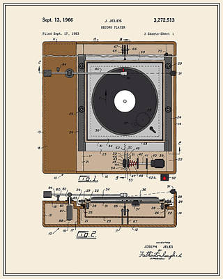 Vinyl Record Digital Art - Record Player Patent - Colour by Finlay McNevin