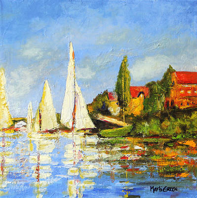 Recreation Of Boating At Argenteuil Art Print by Marti Green