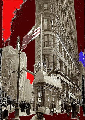 Watercolor Typographic Countries - Recruiting display 23rd and Broadway  Flatiron Building New York City April 1917-2014  by David Lee Guss