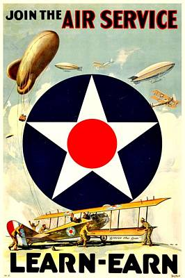 Recruiting Poster - Ww1 - Air Service Art Print by Benjamin Yeager