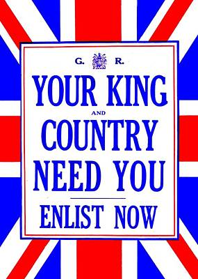 Recruiting Poster - Britain - King And Country Art Print by Benjamin Yeager