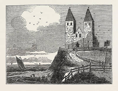 Reculver Drawing - Reculver Church, From The Sea by English School