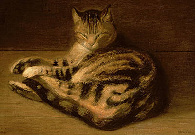 1898 Painting - Recumbent Cat by Theophile Alexandre Steinlen