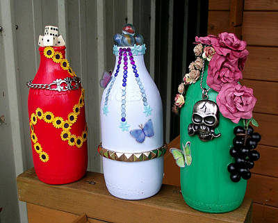 Glass Art - Recycled Milk Bottles by Sandy Wager