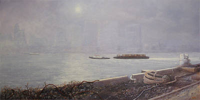 Recycling Barge On The Thames River Art Print