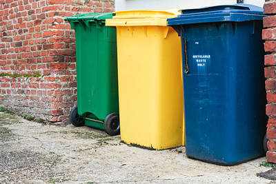 Municipality Photograph - Recycling Bins by Tom Gowanlock