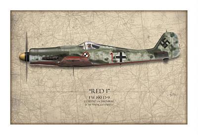 Red 1 Focke-wulf Fw-190d - Map Background Art Print