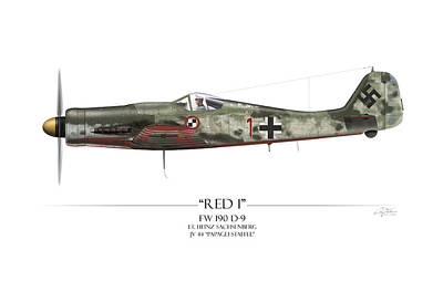 Red 1 Focke-wulf Fw-190d - White Background Print by Craig Tinder