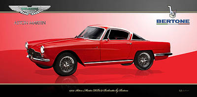 Digital Art - Red 1954 Aston-martin Db2/4 Berlinetta  By Bertone  by Serge Averbukh