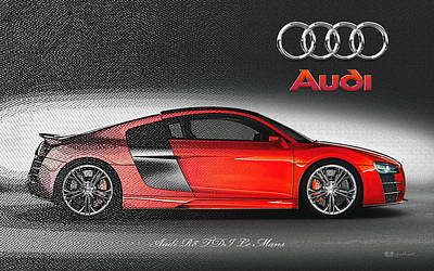 Digital Art - Red 2008 Audi R 8  T D I Le Mans With 3 D Badge  by Serge Averbukh