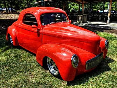 Photograph - Red 41 Willys Coupe 001 by Lance Vaughn