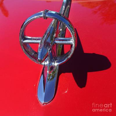 Photograph - Red '48 Buick Eight Super Hood Ornament With Shadow by Barbie Corbett-Newmin