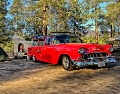 Hot Creek Painting - Red '55 Chevy Wagon by Michael Pickett