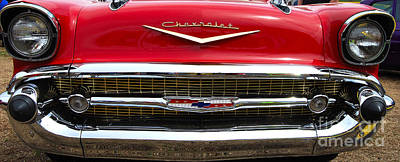 Photograph - red '57 Chevy Grill by Mark Spearman