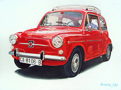Fiat Car Painting - Red 600 by Jorge Pinto