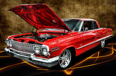 Red '63 Impala Art Print by Victor Montgomery