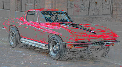Street Rod Painting - Red 65 by David Lee Thompson