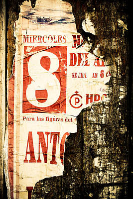 Red 8 Spain Rustic Wood Print by Calvin Hanson