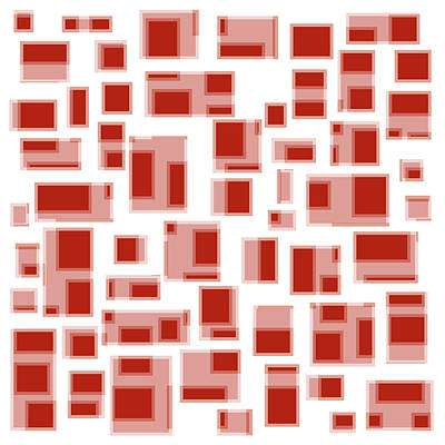 Abstract Painting - Red Abstract Rectangles by Frank Tschakert