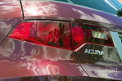 Photograph - Red Acura Rear Tail Light Close Up by David Zanzinger