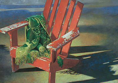 Relaxing Painting - Red Adirondack Chair by Mia Tavonatti