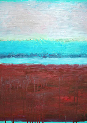Painting - Red And Aqua Get Married by Michelle Calkins