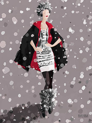 Fashion Painting - Red And Black Cape In The Snow Fashion Illustration Art Print by Beverly Brown