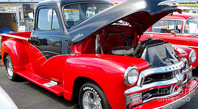 Vintage Truck Photograph - Red And Black Chevy 3100 by Mark Spearman