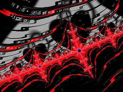 Fraktal Digital Art - Red And Black Digital Fractal Artwork by Matthias Hauser