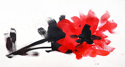 Red Rose Drawings Painting - Red And Black Floral II by Patricia Awapara