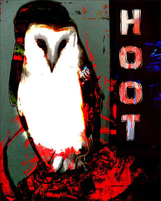 Digital Art - Red And Black Owl Art by John Fish