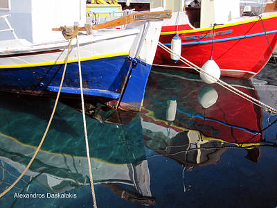Hydra Island Photograph - Red And Blue Boats by Alexandros Daskalakis