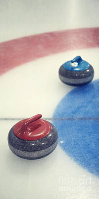 Red And Blue Curling Rock Art Print by Priska Wettstein