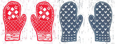 Red And Blue Nordic Mittens Art Print