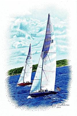 Red And Blue Sailboats Art Print by Judy Skaltsounis