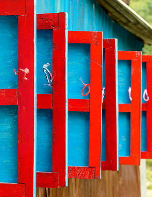 Red And Blue Wooden Shutters Art Print
