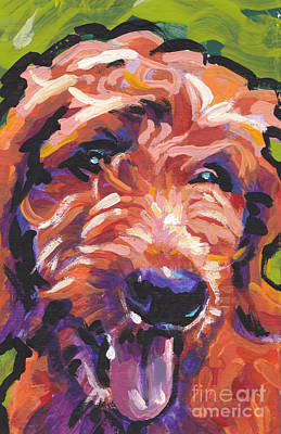 Golden Doodle Painting - Red And Doodly by Lea S