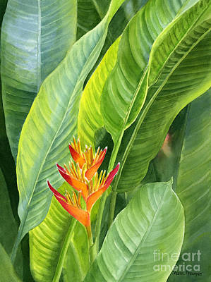 Leaves Painting - Red And Gold Heliconia by Sharon Freeman