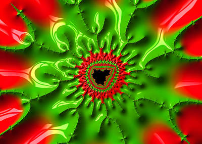 Abstract Digital Photograph - Red And Green Abstract Fractal Art by Matthias Hauser