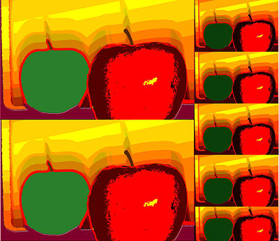 Baking Mixed Media - Red And Green Apples by Bob RL Evans