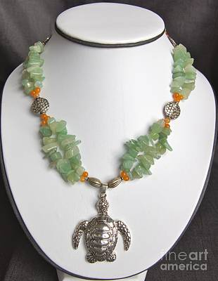 Sea Wall Art - Jewelry - Red And Green Aventurine Turtle Necklace by Megan Cohen
