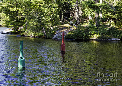 Photograph - Red And Green Buoys by Les Palenik