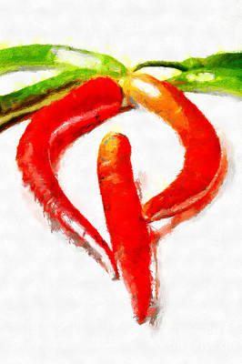 Red And Green Chili Peppers Painting Art Print by Magomed Magomedagaev