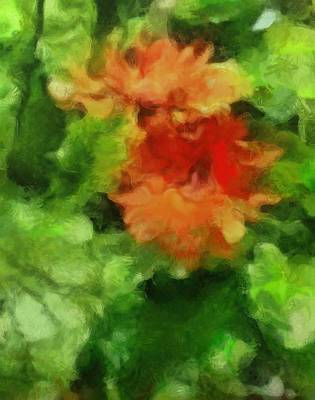 Painting - Red And Green Flower Floral Plants Botanicals Garden In Spring And Summer By Mendyz by MendyZ